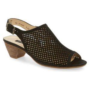 Paul Green Lois Perforated Slingback Sandal Black